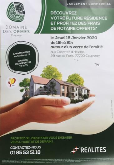 Programme immobilier Coupvray – Domaine des Ormes, LCDH partenaire de REALITES